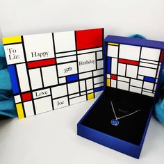 Spruce up your gift with some modern art packaging (Piet Mondrian) - and make it personalised! 🎨 #jewellery #jewelry #modern #art #modernart #necklace #fashion #gifts #giftsforher #forher #etsy #etsygifts #etsyshop #lauriumblue Personalised Jewellery, Piet Mondrian, Modern Art, Gifts For Her, Etsy Seller, Happy Birthday, Packaging, Notes, Necklaces