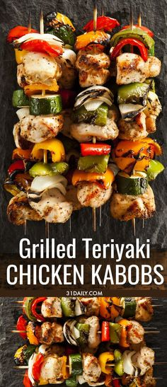 Quick and Easy Grilled Teriyaki Chicken Kabobs with items you probably already h. - Quick and Easy Grilled Teriyaki Chicken Kabobs with items you probably already have in your pantry! Chicken Shish Kabobs Marinade, Grilled Chicken Kabobs, Grilled Chicken Recipes, Chicken Kebab, Chicken Dips, Baked Chicken, Summer Grilling Recipes, Barbecue Recipes, Appetizer Recipes