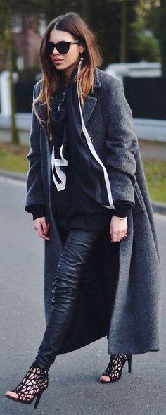 Grey Long Line Wool Coat