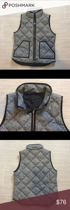 Printed quilted down-filled puffer vest Worn once, excellent condition. This puffer vest is the perfect winter accessory to a pair of tall black boots! J. Crew Jackets & Coats Vests