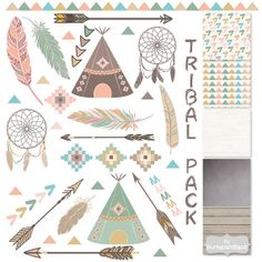StammesClipart und Muster Federn TipiZelte von 1burlapandlace, $4.99