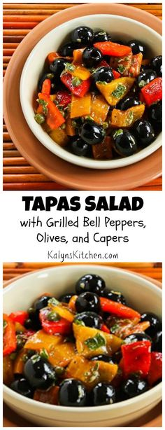 Use your barbecue grill to grill the peppers for this Tapas Salad with Grilled Bell Peppers, Olives, and Capers. The grilled peppers add amazing flavor and this tasty salad is Low-Carb, Paleo, Whole 30, Gluten Free, Vegan and South Beach Diet friendly! [from KalynsKitchen.com]: