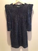 80S Style Heavily Sequinned Black 3/4 Sleeve Mini Dress With Shoulder Pads