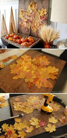38 Fall Decorating Ideas in The Style of Farmhouse - Neue Ideen Thanksgiving Decorations, Seasonal Decor, Christmas Decorations, Holiday Decor, Leaf Crafts, Fall Crafts, Diy And Crafts, Decoration Vitrine, Decoration Table