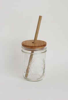 Bamboo Mason Jar Lid and Straw $20