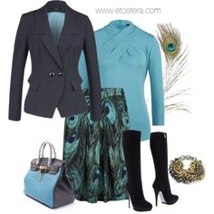 Designer Clothes, Shoes & Bags for Women Work Attire, Work Outfits, Chic Outfits, Fall Outfits, Peacock Skirt, Elegant Chic, Soft Summer, Fashion Sets, Trending Now