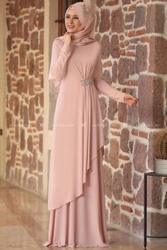 Powder Stone Evening Dress – – Best Of Likes Share Hijab Evening Dress, Hijab Dress Party, Hijab Style Dress, Abaya Style, Evening Dresses, Muslim Women Fashion, Islamic Fashion, Abaya Fashion, Fashion Dresses
