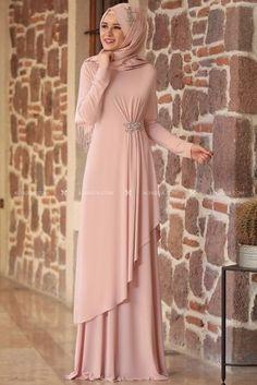 Powder Stone Evening Dress – – Best Of Likes Share Hijab Dress Party, Hijab Style Dress, Abaya Style, Mode Abaya, Mode Hijab, Islamic Fashion, Muslim Fashion, Abaya Fashion, Fashion Dresses