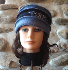 Chapeau pour femme avec 2 tons de blues avec bleus par knitvalley