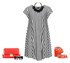 """""""Black and white and a pop of orange"""" by lenaick ❤ liked on Polyvore featuring Choise, Office, Carlos by Carlos Santana and Kate Spade"""