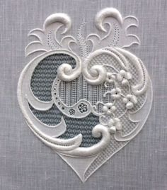 Advanced Fine Whitework -- Diploma - Lianne Hart - Royal School of NeedleworkWhitework piece designed and embroidered by Lianne Hart who was working on her Advanced Fine Whitework Diploma from the Royal School of Needlework Explains types of embroidery an Hardanger Embroidery, White Embroidery, Vintage Embroidery, Ribbon Embroidery, Embroidery Stitches, Embroidery Patterns, Machine Embroidery, Embroidery Sampler, Embroidery Monogram