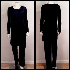 "Black Stretch Velvet Suit 90s Vintage Sonia Rykiel suit! Luxurious, deep black crushed stretch velvet tunic w/ rounded side slits & matching wide leg pants w/ elastic waist. 100% viscose/rayon. Minor signs of wear: some fraying on back of pants hem & a few pin holes in tunic, completely unnoticeable unless inspecting very closely.  Size tag was removed but fits like a large. Tunic: Length:36"". Bust:46"". Sleeve:24"". Side slits:13.5"". Pants: Inseam:32"". Waist:28-36"". 100% authentic & made in…"