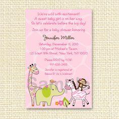 Safari Girl Jungle Animal Printable Baby Shower Invitation on Etsy, $10.00