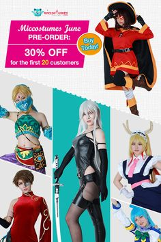 Miccostumes June New Arrivals Pre-order! 30% off for the first 20 customers and 25% off for the 21st to 50th, ending on June 20. New release of Breath of the Wild Girl Link #cosplay, Konosuba God's Blessing On This Wonderful World cosplay. Don't miss out!