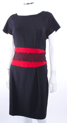 DANNY & NICOLE ROUND NECK CAP SLEEVE RED & BLACK LACE WAIST BLACK DRESS SZ 18 #DannyNicole #Sheath #LittleBlackDress