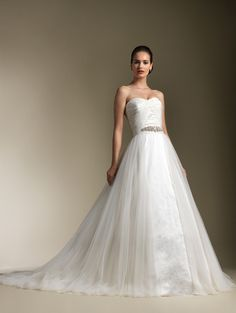 A-line Sweetheart Ruched Bodice Tulle Overlay Satin Wedding Dress-wa0174, $274.95