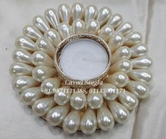 Best quality pearls united with metal candle holder that gives an impressive look. Diwali Lamps, Diwali Diy, Diwali Craft, Thali Decoration Ideas, Diy Diwali Decorations, Festival Decorations, Cd Crafts, Diy Arts And Crafts, Art N Craft