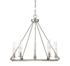 Dining - The Hasting 5-light chandelier from Savoy House Finished in brushed pewter.