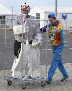 Getting the goalie to the big game in Sochi. #sochiproblems #olympics #hockey