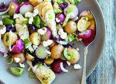 Potato Salad Recipe With Artichokes, Feta Cheese & Olive Relish