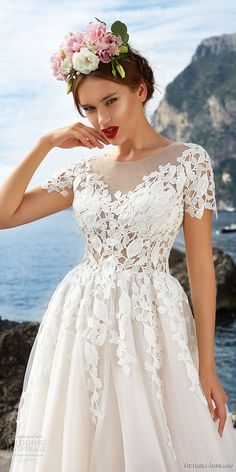 victoria soprano 2017 bridal short sleeves sheer bateau sweetheart neckline heavily embellished bodice beautiful romantic a  line wedding dress sheer button back chapel train (5) zv -- Victoria Soprano 2017 Wedding Dresses