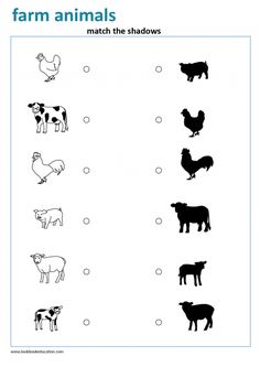 Worksheet for Preschool and Kindergarten. Match the farm animals to their shadows. View more worksheets, go to www.lookbookeducation.com Farm Animals Preschool, Animal Activities For Kids, Toddler Learning Activities, Infant Activities, Preschool Activities, Farm Animals For Kids, Preschool Kindergarten, Animal Worksheets, Preschool Worksheets