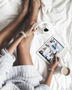 cozy day in bed. Lazy Sunday, Lazy Days, Sunday Morning, Morning Coffee, Cuddles In Bed, Snuggles, Photo Grid, Chill Pill, Flat Lay Photography