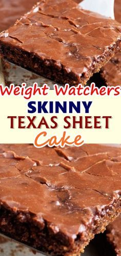 SKINNY TEXAS SHEET CAKE A delicious and moist Texas sheet cake that is made with healthier ingredients and absolutely incredible! Don't forget to Pin this so it will be SAVED to your timeline! Weight Watcher Desserts, Weight Watchers Snacks, Weight Watchers Brownies, Weight Watcher Cookies, W Watchers, Köstliche Desserts, Dessert Recipes, Recipes Dinner, Frosting Recipes