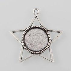 10pcs Antique Silver Alloy Star Pendant Cabochon Cameo Setting Retro Jewelry DIY