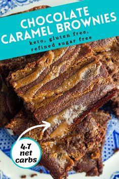Keto chocolate caramel brownies are easy to put together. Rich chocolate and smooth caramel come together to make these almond flour brownies taste like a sweet indulgence! These gluten-free brownies taste anything but healthy and will satisfy any sweet tooth. At only 4.7 net carbs each, this keto brownie recipe is sure to be a new family favorite. Get your recipes and try these delicious keto brownies! #brownies #ketobrownies #glutenfree #keto #almondflour #ketodessert #ketodessertrecipes
