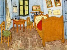 Wide lens allowing viewer to explore every nuance of the small room, to see the relationship of objects and space.      Van Gogh - Room at Arles
