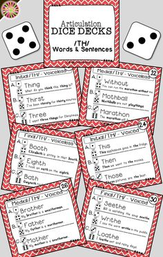 Looking for engaging articulation materials and activities for speech therapy? DICE DECKS are interactive task cards that allow students to play and work on their speech sounds at the same time! This grab and go resource puts some fun back into articulation drill work. Click to view this /TH/ Words and Sentences deck!