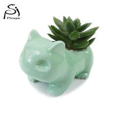 Kawaii Sadzarka Ceramiczne Doniczki Bulbasaur Soczyste Słodkie Biały/Zielone Rośliny Doniczka z Otworem Śliczne Dropshipping