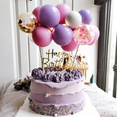 Birthday Party Desserts, Beautiful Birthday Cakes, Happy Birthday Cake Topper, Birthday Cake Girls, Gold Birthday, Purple Birthday Cakes, Tumblr Birthday Cake, Purple Happy Birthday, Baby Cake Topper