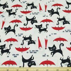 Cats & Umbrellas 100% Cotton Fabric