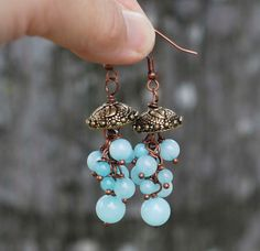 Jellyfish Earrings Blue Amazonite Unique Beaded Earrings Cute Bubble Handmade #Jeanninehandmade #Wrap