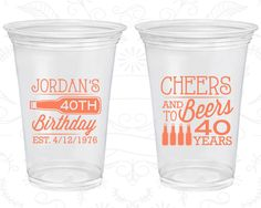 40th Birthday Soft Sided Cups, Cheers to 40 Years, Cheers and Beers, Disposable Birthday Cups (20002)