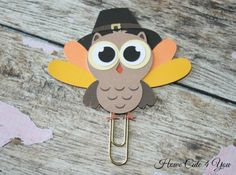 Thanksgiving Turkey Owl Page Clip Planner Clip by HoweCute4You