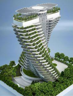 L'« Agora Garden », concept imaginé par l'architecte belge Vincent Callebaut pour la ville de Taipei (Taiwan), doit constituer un biotope vertical et autosuffisant en plein centre, la culture de légumes bio côtoyant les logements. Photo : © Vincent Callebaut Architectures #architecture #urban farming
