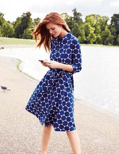 I've spotted this @BodenClothing Riviera Shirt Dress.  Bought this and it is so chic.  Paired it with blue heels. :)