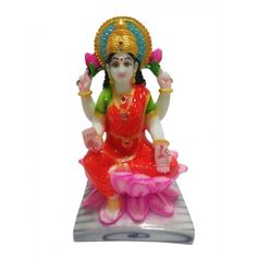 Sitting Laxmi Ji Idol On Kamal