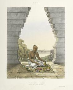 Poojah [Puja] of Vishnoo [Vishnu]. Pouring water on the Saligram [Saligrama]. Om Namah Shivaya, Morning Devotion, Indian Artwork, Temple Design, Hindu Deities, Daily Prayer, Grand Tour, New York Public Library, Dibujo