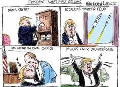 Best Donald Trump Cartoons: President Trump's First 100 Days Trump Crazy, Trump One, Donald Trump, John Trump, Trump Cartoons, Political Cartoons, Satirical Illustrations, Calvin And Hobbes, That Way