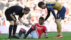 Manchester United's Marcus Rashford went down injured at the start of the second half at Old Trafford