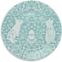 Blue Bunny Salad Plate ($1.99) ❤ liked on Polyvore featuring home, kitchen & dining, dinnerware, bunny salad plates, blue dinnerware, rabbit dinnerware, bunny dinnerware and blue salad plates