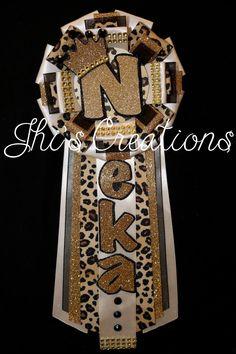 Neka's birthday pin/mum/corsage in ivory, gold, black, and cheetah #JhisCreations
