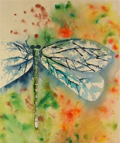 """dragonfly watercolor painting large colorful original fine art blue green yellow gold, by """"SunnyLeeStudio"""""""