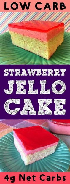 This Low Carb Strawberry Jello Cake is a layer of vanilla cake topped with strawberry mousse filling with a layer of strawberry glaze on top. Its Atkins Banting THM LCHF Keto Sugar Free and Gluten Free. Its also super delicious. Jello Desserts, Jello Recipes, Diabetic Desserts, Dessert Recipes, Recipies, Diabetic Recipes, Cake Recipes, Strawberry Jello Cake, Strawberry Glaze