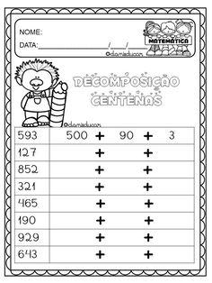 Atividades de decomposição Grade 6 Math, 2nd Grade Math Worksheets, Printable Math Worksheets, Second Grade Math, Maths Puzzles, Math Activities, Math Charts, Montessori Math, Math Groups