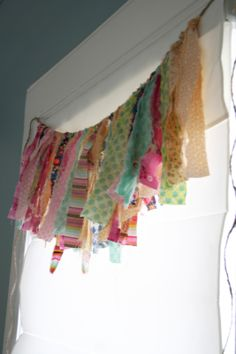 This fabric scrap valance would be cute in a craft room.